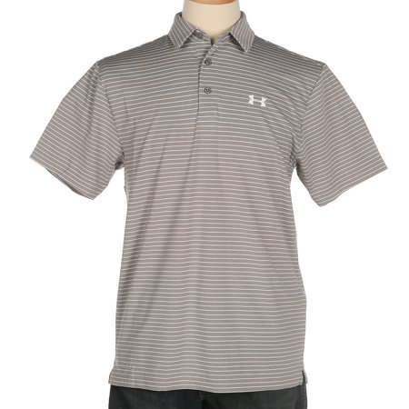 under armour mens  grey/white stripe playoff polo