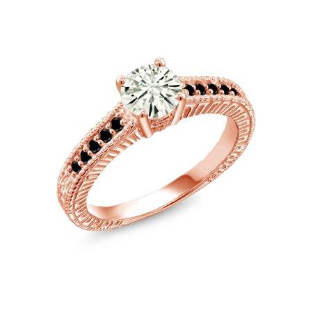 18k White Gold Moissanite Ring - 18K Rose Gold Plated Silver Ring Forever Classic Created Moissanite & Diamond