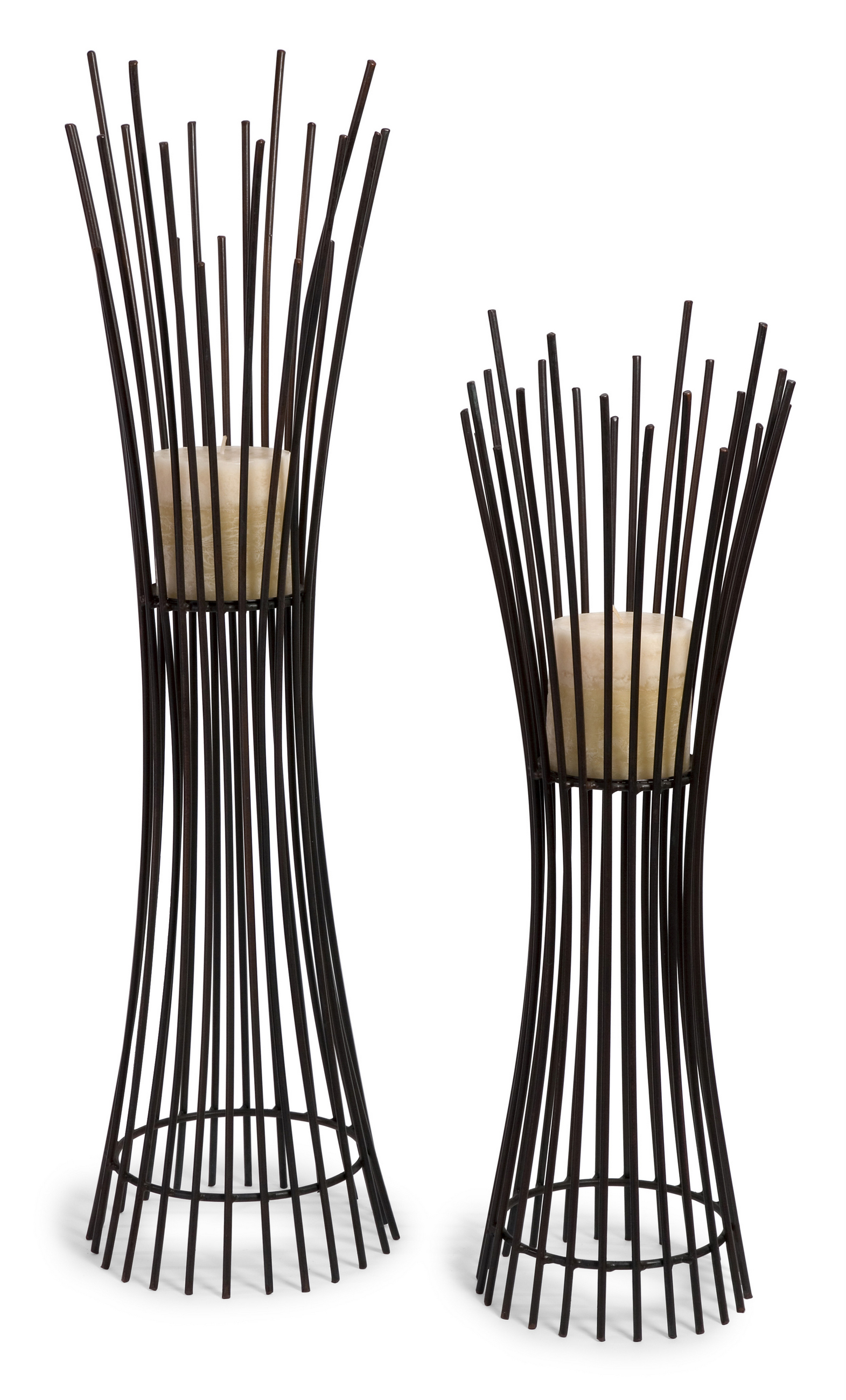Contemporary Styled Metal Candle Holder Duo Set of 2 by Benzara
