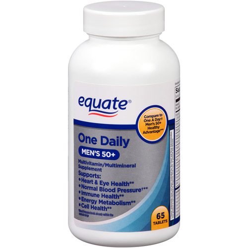Equate One Daily Men's 50+ Multivitamin/Multimineral Supplement Tablets, 65 count