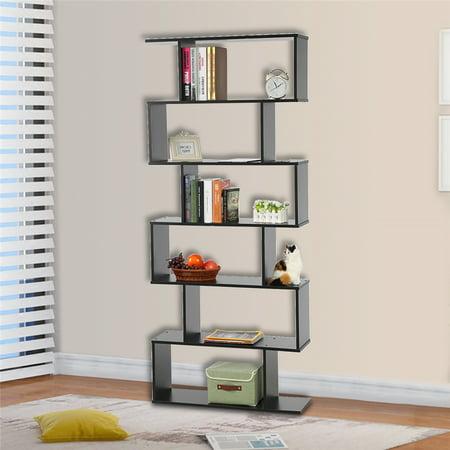 6 Tier Bookcase Large Capacity Book Storage Organizer Box Display Shelf Clic Style Cabinet E Saver Shelving Unit For