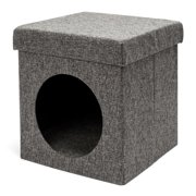 Folding Chair Pet House Cat Litter Bed Foot Stool Dark Gray Linen