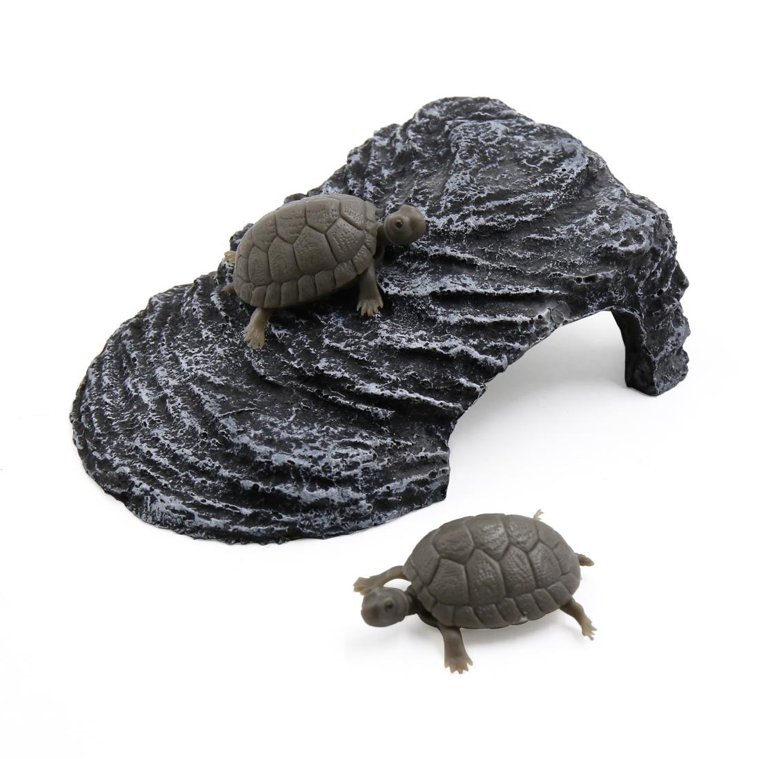Dark Gray Landscape Resin Basking Ramp Turtle Climb Stone Habitat for Fish Tank