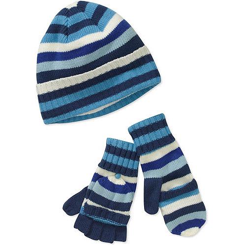Dearfoams Women's Multi-Stripe Hat and Flip-Gloves Set