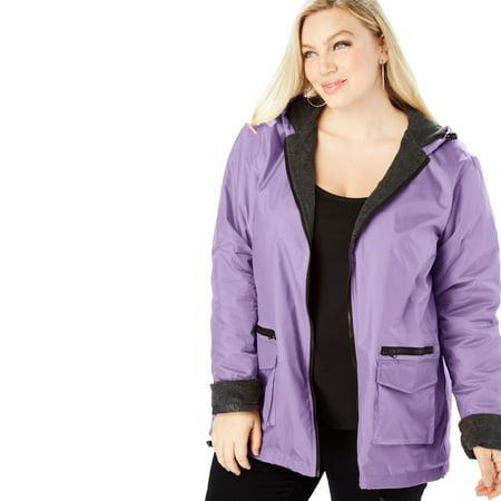 5e09be0f6c3 Roaman s - Plus Size Hooded Nylon Jacket With Fleece Lining - Walmart.com