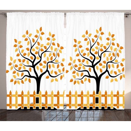 Farm House Decor Curtains 2 Panels Set, Border with Shady Deciduous Autumn Trees Growth Leaf Seasonal Background, Window Drapes for Living Room Bedroom, 108W X 90L Inches, Orange Black, by (Autumn Leaves Border)
