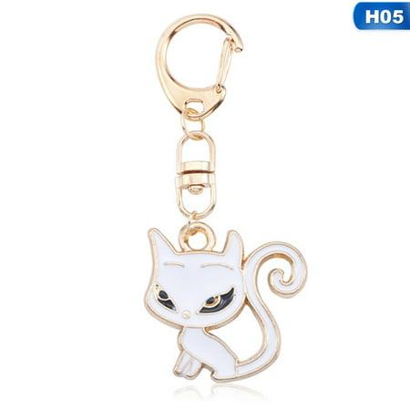 AkoaDa Cute Cat Kechain For Women DIY Anime Ainimal Kawaii Kitty Keychain Fox Mermaid Moon Metal Key Chain Jewelry Gift ()