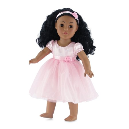 18 Inch Doll Clothes | Pink Easter Tutu Dress, Includes Matching Rosette Headband | Fits American Girl Dolls