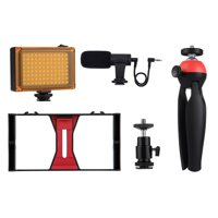 PULUZ Camera Shooting Kit Smartphone Handheld Filmmaking Video Rig +  LED Studio Light + Video Microphone + Mini Tripod Mount Kits with Cold Shoe Tripod Head for Outdoor Shooting Live Broadcast