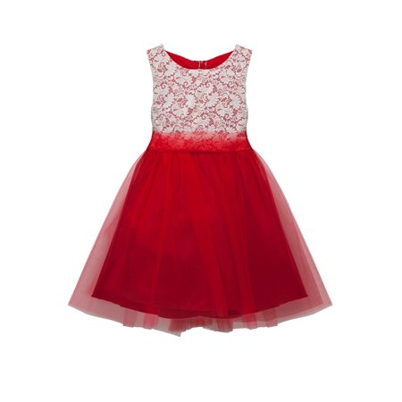 Kids Dream Girls Red Lace Tulle Plus Size Junior Bridesmaid Dress