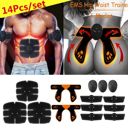 14Pcs/Set Body Shape Muscle Training Gear Hip Trainer Fitness ABS Arm Leg Abdominal Muscle Trainer Exercise Kit (Abus Kit)