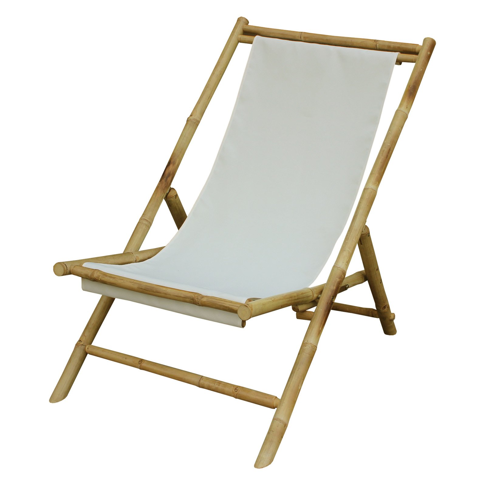 Zew Hand Crafted Folding Bamboo Sling Lounge Patio Chair