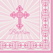 Radiant Cross Baptism Paper Luncheon Napkins, 6.5in, Pink, 16ct