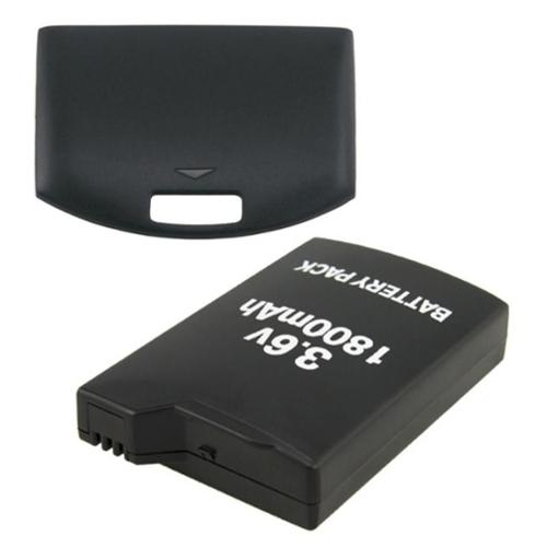 1800mAh Rechargeable Battery Pack + Back Door Cover by Insten for Sony PSP 1000 1001