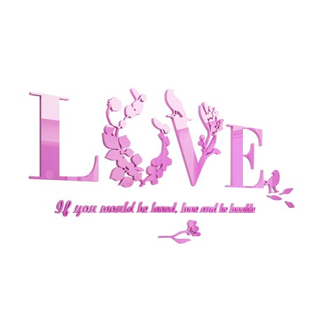 (Removable Love Leaf Proverb 3D Wall Stickers Modern Acrylic Stickers Mural Home Decor (Purple))