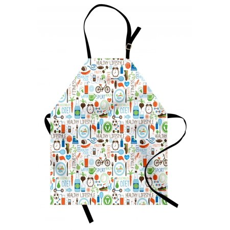 Fitness Apron Sports and Diet Balance Nutrition Bicycle Organic Fresh Food Poultry Juice Vitality, Unisex Kitchen Bib Apron with Adjustable Neck for Cooking Baking Gardening, Multicolor, by