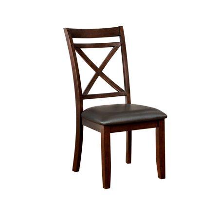 Furniture of America Moser Cushioned Dining Chair, Set of 2, Dark Cherry 18 Leaf Dark Cherry