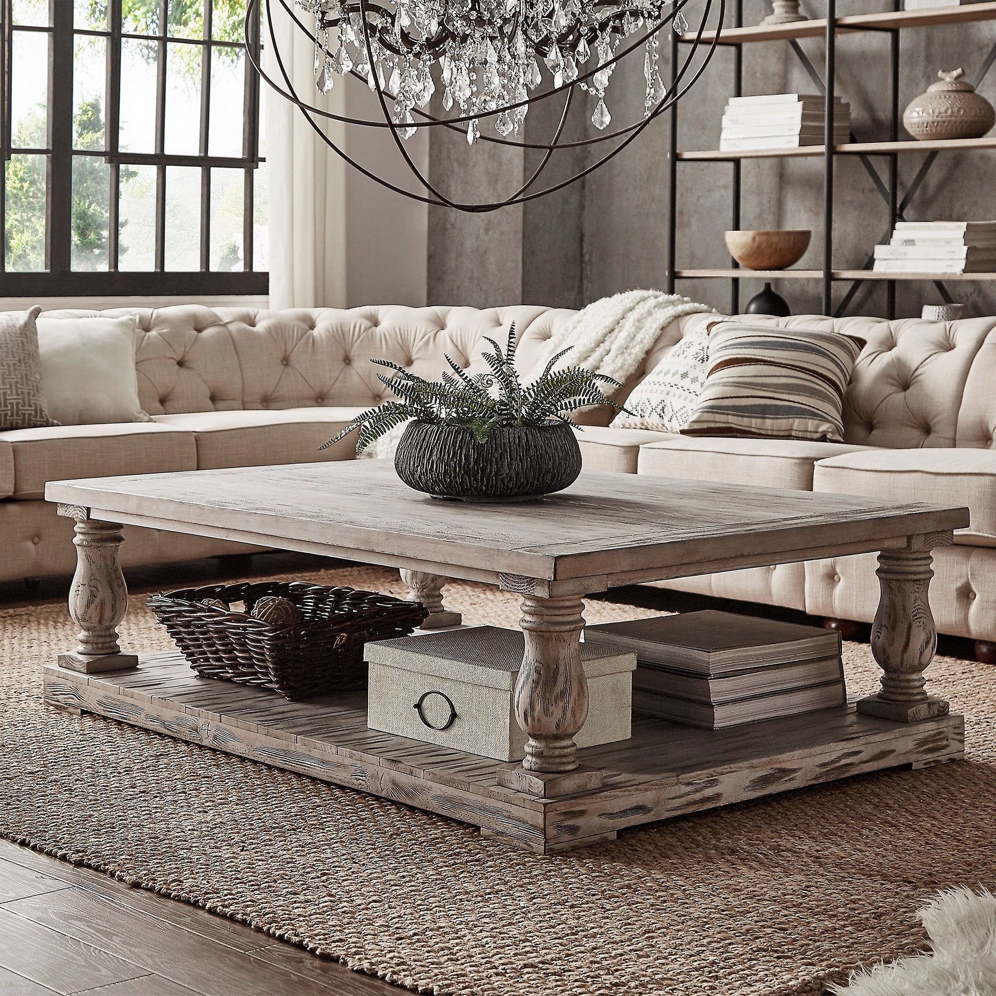 Signal Hills Edmaire Rustic Baluster 60 Inch Coffee Table By Walmart Com Walmart Com