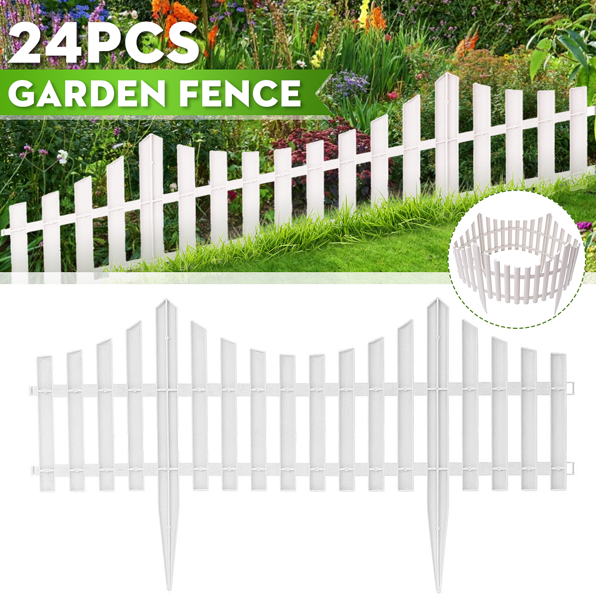 Size:1 pc weather-resistant treatment New Version 2021 104cm long // 30cm height front yard fence Floranica/® Wooden Panel Picket Border Fence as a garden Color:natural