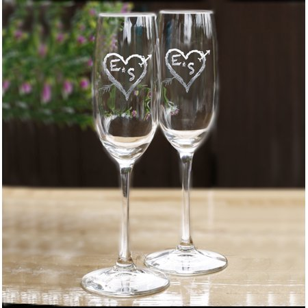 Personalized Initials in heart champagne glass (1pc) - Personalized Champagne Glasses
