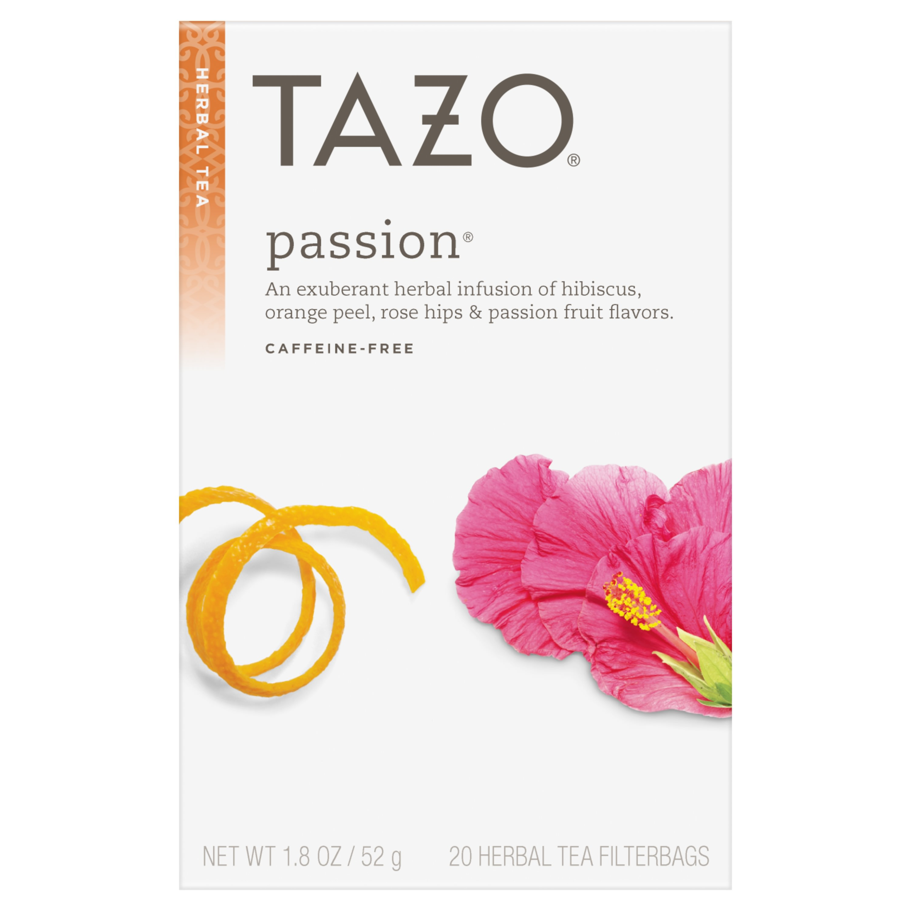 (4 Pack) Tazo Passion Tea bags Herbal tea 20ct