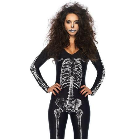 Leg Avenue Women's X-Ray Skeleton Catsuit Costume, Black/White, Medium - image 2 de 2
