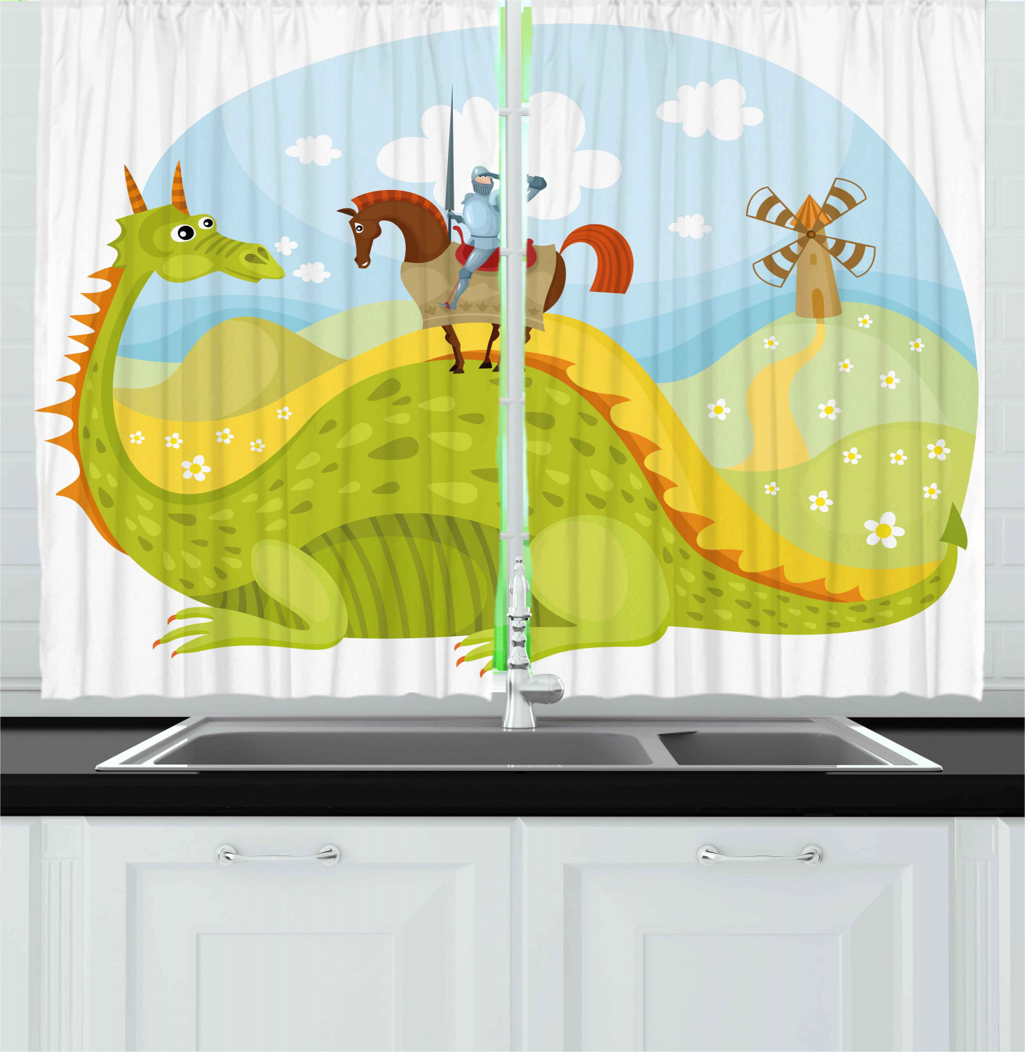 Fantasy Curtains 2 Panels Set Knight Don Quixote With Horse On Dragon Valley Medieval Fairytale Image Window Drapes For Living Room Bedroom 55w X 39l Inches Apple Green Sky Blue By Ambesonne