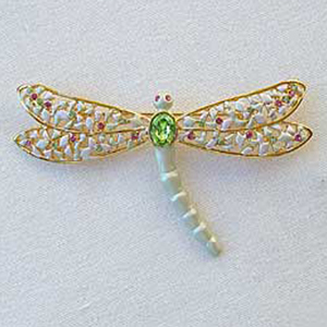 Platinum-Plated Swarovski Crystal Large Dragonfly Design Brooch Pin by