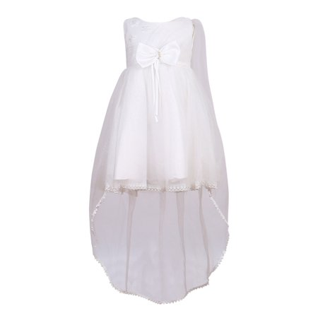 Little Girls White Long Tail Overlay Bow Bridal Party Dress 6