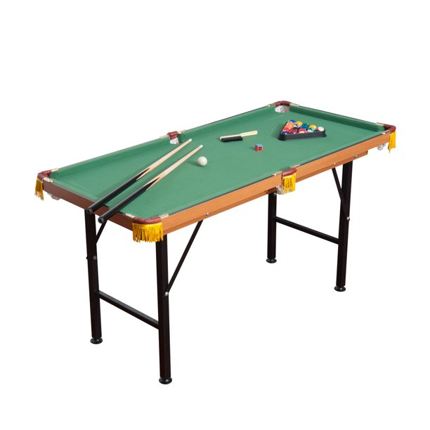 55'' Portable Folding Billiards Table Game Pool Table for Kids Adults With Cues, Ball, Rack, Brush, Chalk