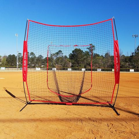 Premium Sport Nets Baseball Softball Hitting and practice net- 7x7ft baseball pitching net, Large Mouth Net with Bow... by Sport Nets