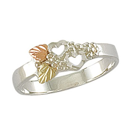 Landstroms Black Hills Gold Womens Two Heart Ring in Sterling Silver with 12k Gold Leaves