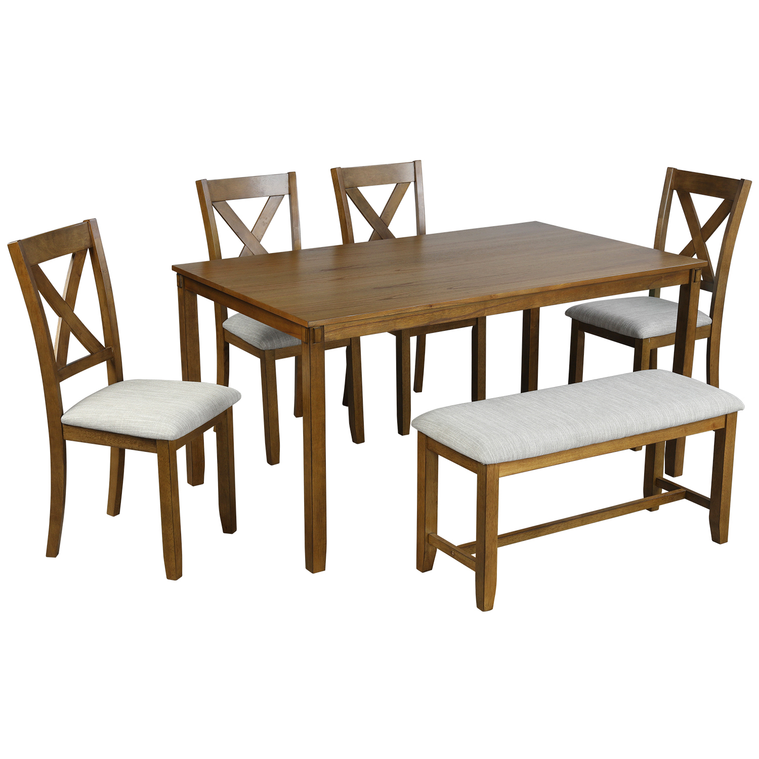 enyopro wood dining table and chair set of 6 dining room