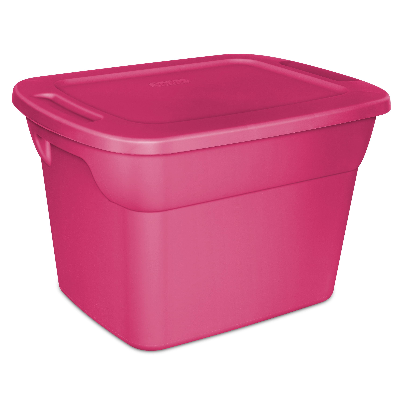 Sterilite 18 Gal68 L Tote Box Fuchsia Burst Available in a Case