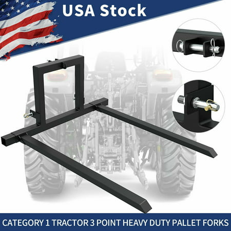 3 Point Hitch Pallet Mover Category 1 Tractor Attachment Adjustable Forks About the product:This 3 point pallet forks can be used in many different situations.With this pallet forks attachment, you can not only pick up pallets, move logs, move hay and feed around farm but also picking up the sprayer mounted on pallet.It can be used as a carry-all for moving supplies, both to and from the field. This 3 pointpallet mover is a handy and good tool around your farm if you don't have an on site forklift.Pallet mover moves more than just pallets! You can haul hay, feed, fencing materials, boxes of fruit or vegetables and anything you want to move.It features heavy duty steel constructure to move different weight of projects(Large capacity 1500lbs).And you can adjust the spacing between the forks to meet your different requirements.It works with all category 1 3-point hitches, and comes with the lower lift pins.Features:-Category 1 quick hitch compatible- Set screws to lock forks in place-Heavy-duty square and rectangular steel tube construction,1500 pound capacity- Adjustable width pallet forks- Powder coated finish- Quick Hitch Compatible-Top Link Pin is included.-Built with the highest quality materials workmanship to exceed your expectations- One year warrantySpecifications:- Thick steel structure- 55  wide x 25.4  tall- 7/8  Cat 1 Lift Pins included- Powder coated FinishPackage Included:1 x Set of 3 Point Hitch Pallet Mover