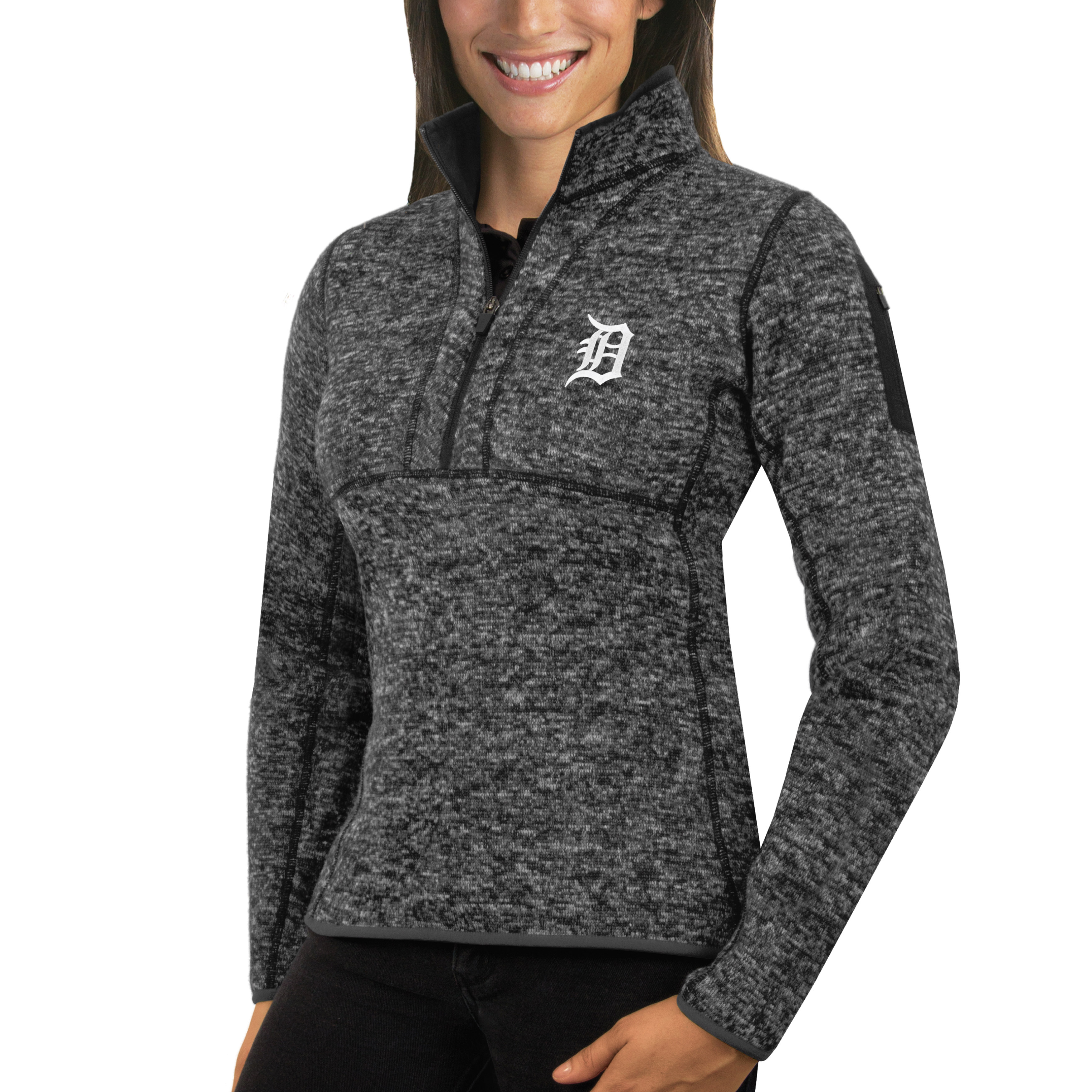 Detroit Tigers Antigua Women's Fortune Half-Zip Pullover Sweater - Heathered Charcoal