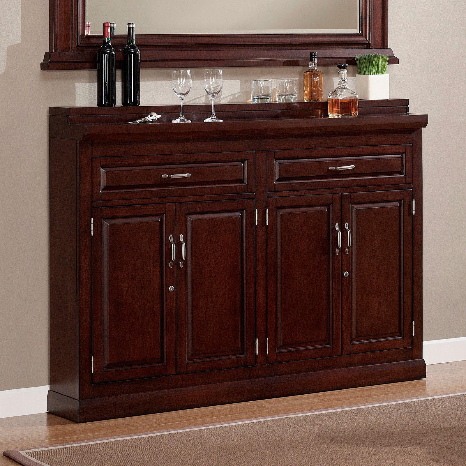 Beau AHB Ricardo Slimline Bar Cabinet   Cherry   Walmart.com