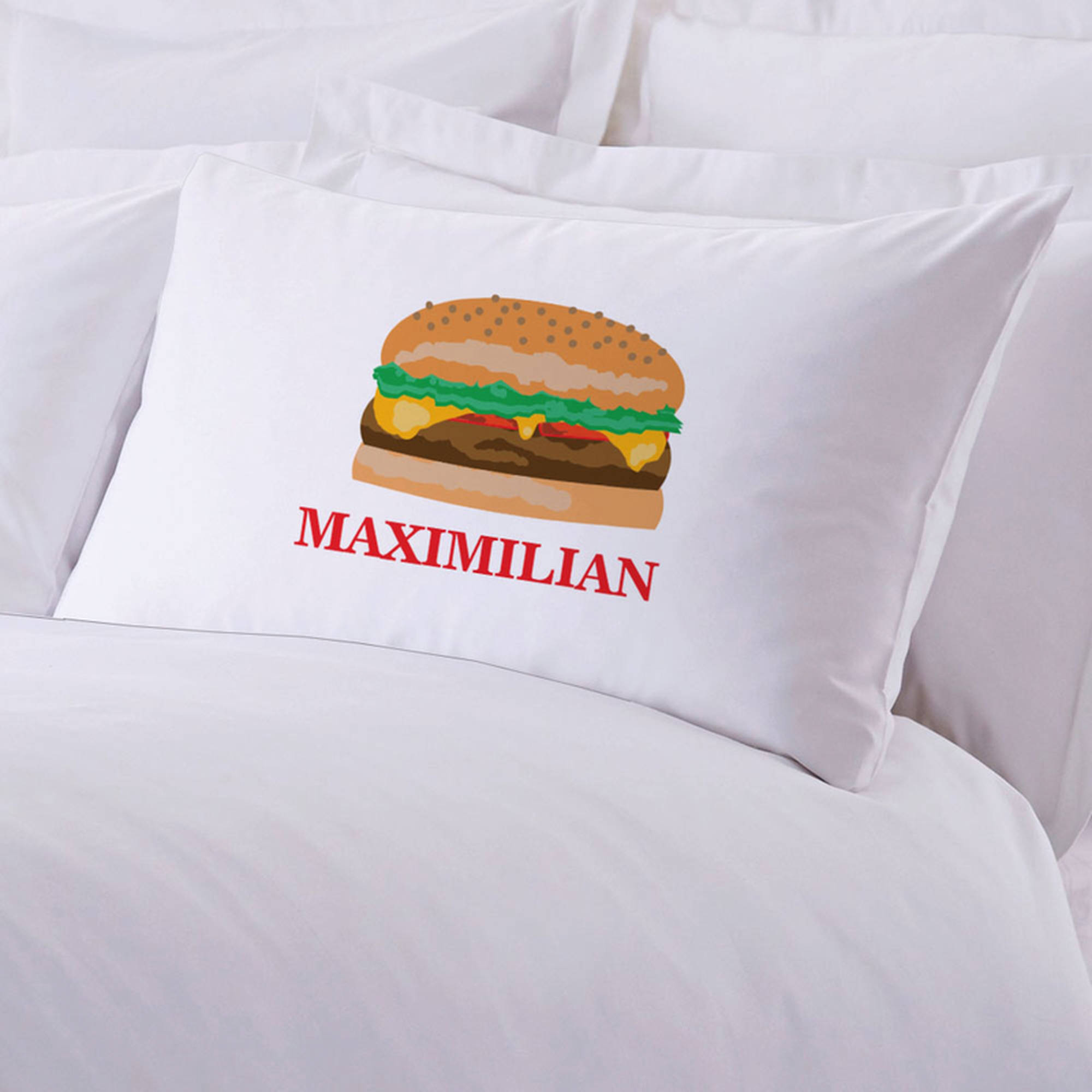 "Personalized Initial Cheeseburger Pillow Case, 20"" x 30"""