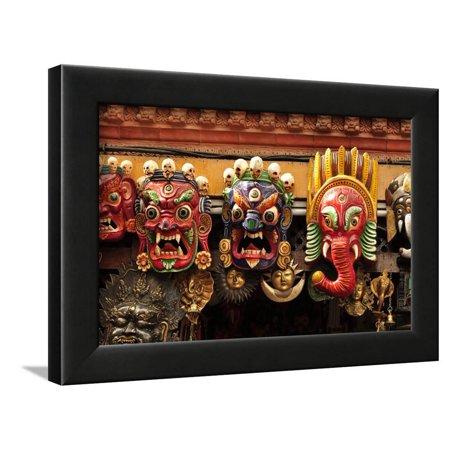 Folk Art of Nepal, Paper Mache Masks Framed Print Wall Art By Jaina Mishra