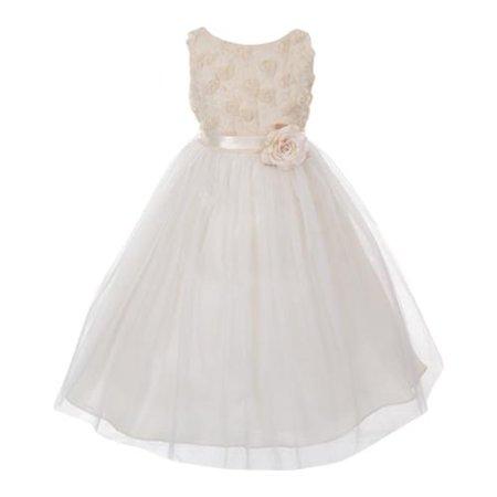Big Girls Champagne Rosebud Applique Bodice Tulle Flower Girl Dress