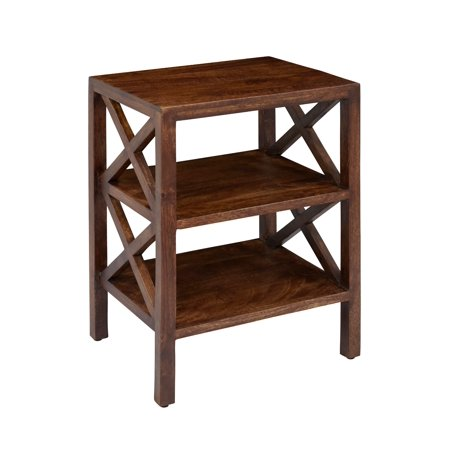 Global Archive X Side Accent Table Brass Leather Accent Table