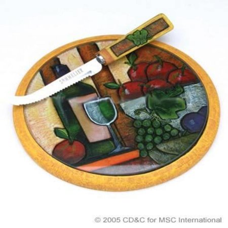 Wine Art Round Cheese Board And Knife By Msc