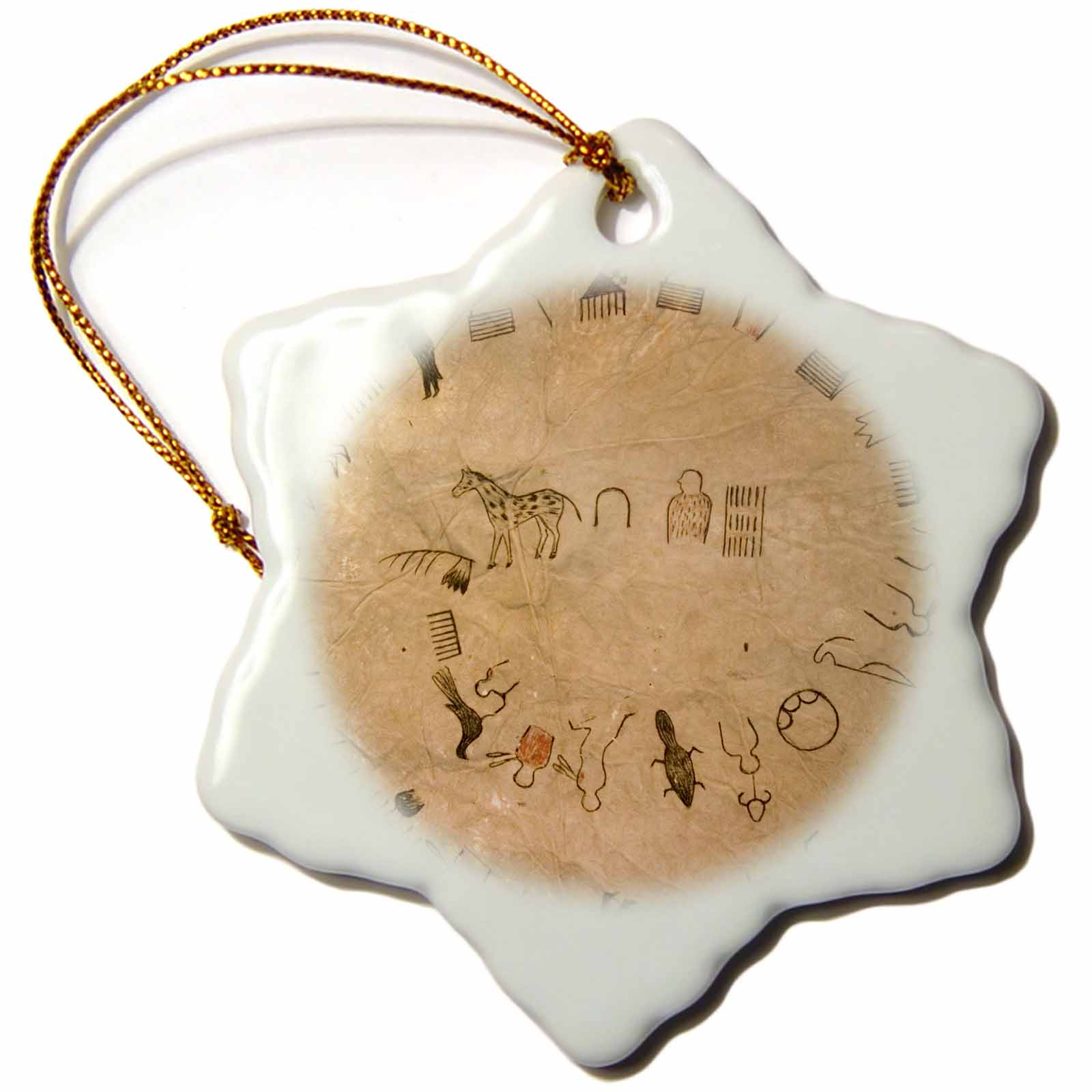 3dRose Lakota Sioux, buffalo robes, Native American - US42 AWY0000 - Angel Wynn, Snowflake Ornament, Porcelain, 3-inch