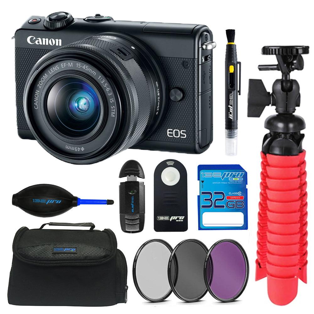 Canon EOS M100 Mirrorless Digital Camera with 15-45mm Lens (Black) + 32GB SDXC Memory Card + Pixi Basic Accessory Bundle