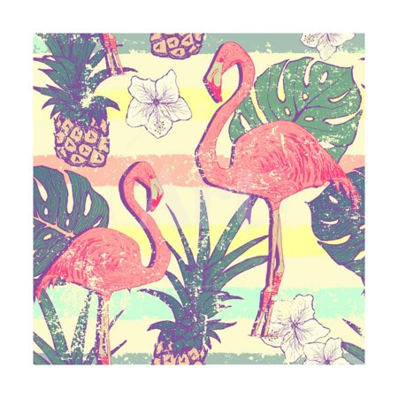Seamless Pattern with Flamingo Birds and Pineapples Print Wall Art By (Pineapple Bird)