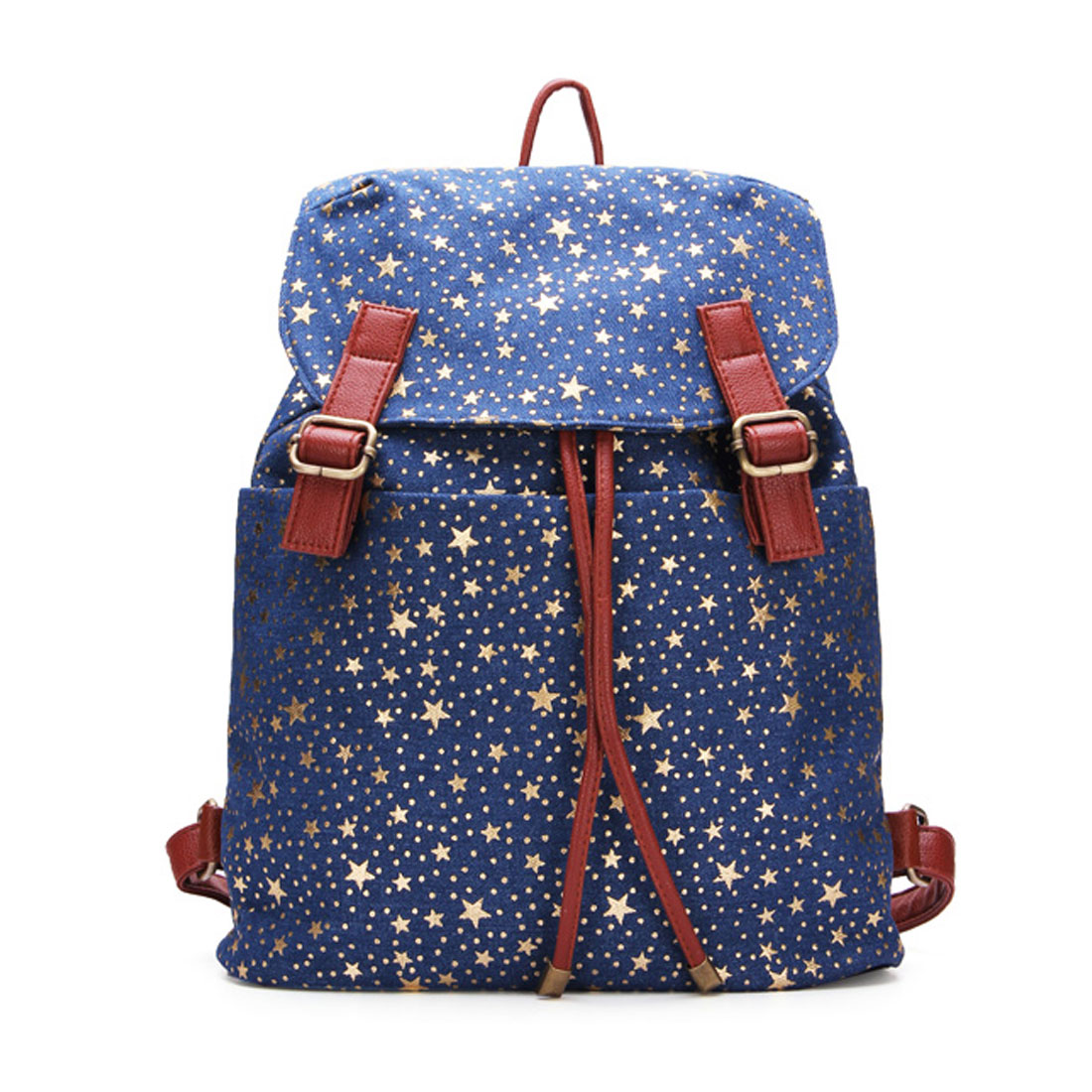 Women's Preppy Style Stars Canvas Backpack Bookbag Schoolbag