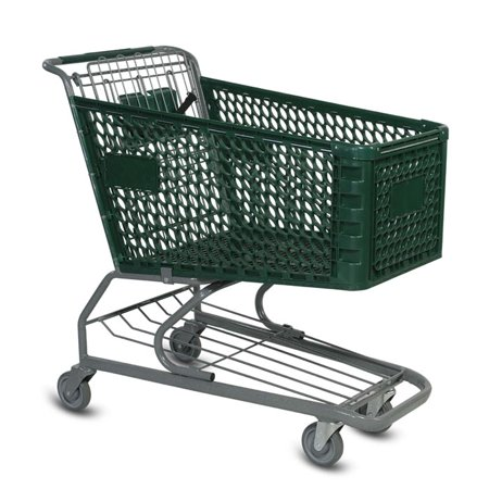 Large Plastic Shopping Cart - Green This is a large plastic shopping cart. It is ideal for supermarkets and large liquor stores. It features 5  non marking poly wheels and every shopping cart comes with a child seat and a seat belt. This is also a great order picking cart for warehouse use. The oval cut outs in the basket provide additional strength and a stylish look.