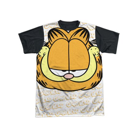 Garfield  Comic Strip Cartoon Movie TV Series Big Head Adult Black Back T-Shirt (Adult Movie Tv)