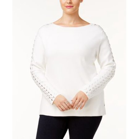 980ea970435 INC-MMG - INC International Concepts Plus Size Rhinestone Sweater Washed  White 3X - Walmart.com