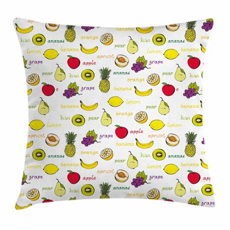 Fruits Throw Pillow Cushion Cover, Kiwi Banana Plums Lemon Orange Pear Grape Apricot Kitchen Food Print, Decorative Square Accent Pillow Case, 18 X 18 Inches, Yellow Cream Purple Ruby, by Ambesonne